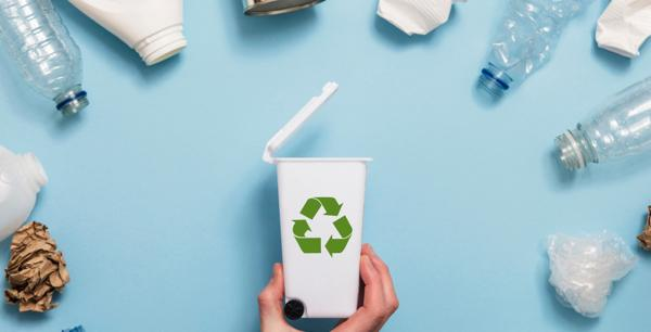 recycling bin and plastics-sustainability